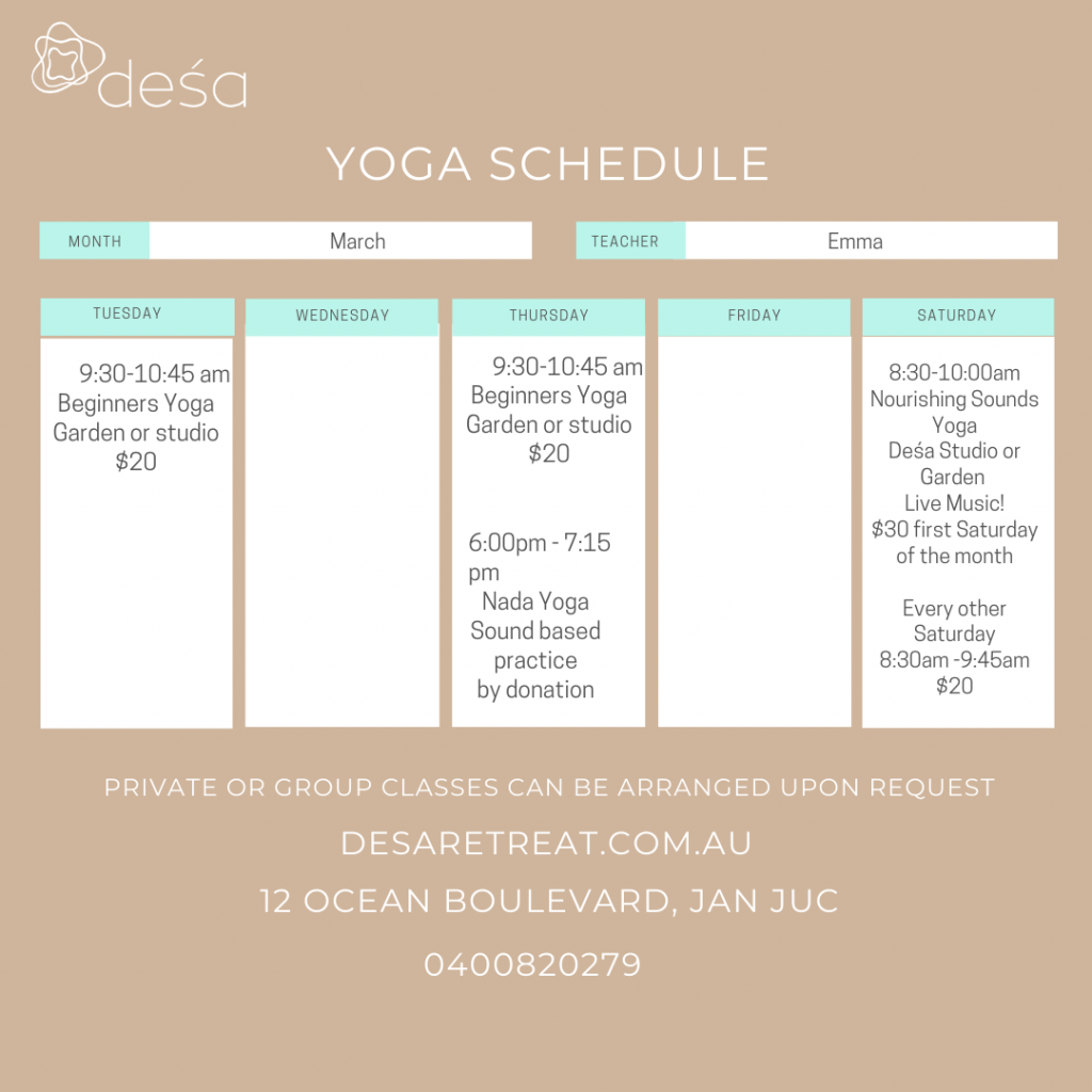 Yoga Class Schedule for March 2021